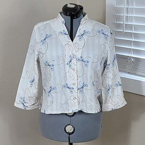 Alfred Dunner Top Embroidered Butterflies Size 16